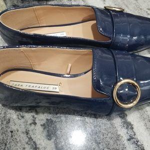 Zara blue patient flat shoes